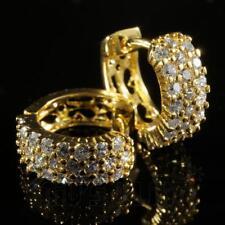 1/4 Ct Round Cut D Vvs1 Diamond Yellow Gold Over Hoop Earrings