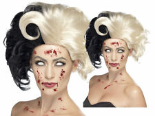 Deluxe Cruella De Ville Wig Evil Madame Zombie Ladies 101 Dalmations Fancy Dress