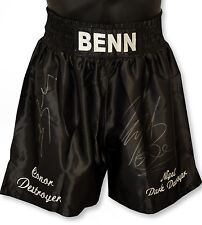 *New Rare*  Nigel Benn And Conor Benn Dual Signed Custom Made Boxing Trunks