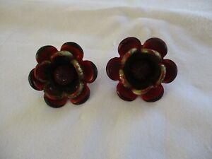 Vintage Enamelware Curtain Tie Backs Red Flower Set Of 2