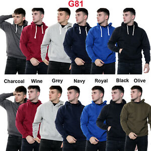 Mens Pullover Hoodie Plain Fleece Sweatshirt Hooded Gym Casual Tops Size S - 6XL