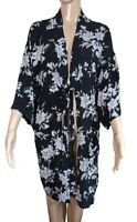 Spiritual Gangster Womens Black Floral Kimono Cardigan With Pockets One Size