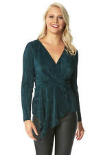Asymmetric Wrap Plisse Long Sleeve V-Neck Top - Ladies Women Roman Originals
