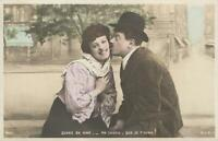 VINTAGE FRENCH COMIC HAND-COLOURED REAL PHOTO LOVERS KISSING POSTCARD - UNUSED