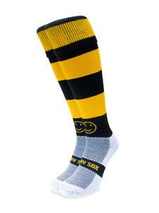WackySox Black and Amber Hoop Sports Socks, Rugby Socks, Hockey Socks, Footba...