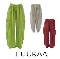 LUUKAA Linen 16YLA6006 Pocket  CAPRESE PANT  Lantern Leg (sizes 6-20) 3 COLORS