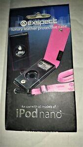 Black/Pink iPod Nano 2nd Gen Real Leather Flip Case & Lanyard UK