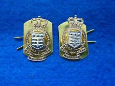 PAIR, R.A.O.C. ROYAL ARMY ORDNANCE CORPS ANODISED COLLAR BADGES + PLATES & PINS