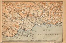 1902 antique map-France-amtibes, Monaco, Nice, Fréjus