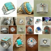 Wholesale Handmade 925 Silver Turquoise Gemstone Ring Women Men Vintage Jewelry