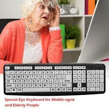 107 Keys USB Wired Large Print White Keys Black Letter Keyboard for Elderly Old