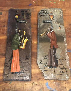 """LOUIS LAICHE New Orleans JAZZ 1984 Pair Painting on Historic Slate Tile 16"""""""