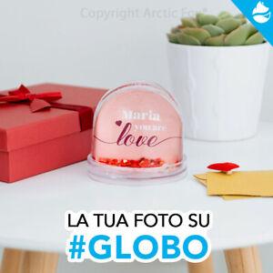 Globo neve o cuori personalizzato con foto frase dedica idea regalo