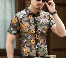 Men See-through Slim Sexy Embroidery Flower Formal T-Shirt Perspective Lapel