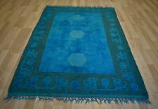 Vintage Over-Dyed Turquoise/Green Handmade Melas Rug  5Ft x 8Ft  Free Shipping