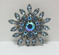 Vtg Light Blue Glass Rhinestone Brooch Pin Silver Tone AB Layered Riveted Const
