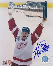 LUC ROBITAILLE Signed DETROIT RED WINGS - 2002 CUP 8X10 Photo w/COA
