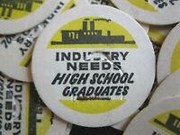 Vintage INDUSTRY NEEDS High School Graduates Milk Bottle Cap  - Lot of 50
