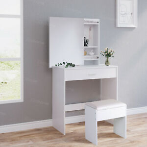 Sliding Mirror Dressing Table+Stools Jewelry Makeup Desk w/Large Drawer Bedroom