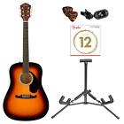 Fender FA-125 Acoustic Guitar Bundle Combo Set Clip-on Tuner Picks Strings Stand for sale