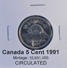 ~~ 1991 ~~  5 Cent KEY DATE - Canada Nickel - CIRCULATED KEY DATE