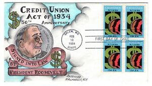 #2075 FDR Credit Union Act Dorothy Knapp Hand Painted Cachet 1984 FDC