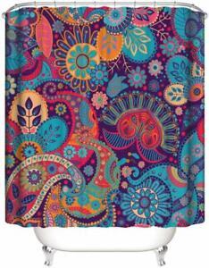 Colorful Mandala Boho Bohemian Paisley Waterproof Fabric Shower Curtain w/ Hooks
