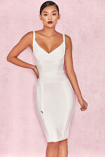 "House of CB 'Belice ""cravate blanche taille Bandage Dress M 10/12 SJ 1655"