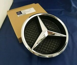 Mercedes Grille Front Badge Chrome Silver Star A C GLA CLA ML CLS E Class + Base