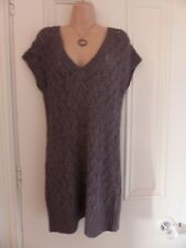White Stuff grey V neck cap sleeved jumper dress UK 10 pattern of holes