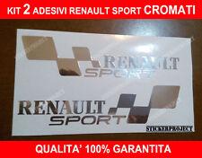 2 ADESIVI RENAULT SPORT STICKERS CROMATO CHROME fiancata tuning 20cm
