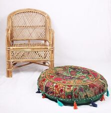 Vintage Cotton Handmade Poofs Embroidered Ottoman Foot Stool Poufs Cover