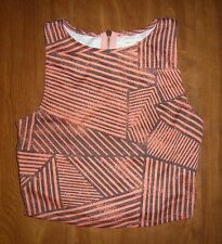 SILENCE + NOISE/ANTHROPOLOGIE - ORANGE/GRAY BACK-INTEREST KNIT TOP - MISSES S