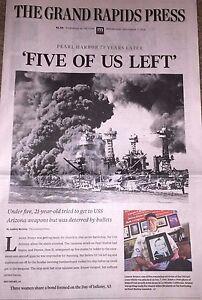 PEARL HARBOR 75th DEC 7 2016 GRAND RAPIDS MICHIGAN NEWSPAPER FIVE OF US LEFT WW2
