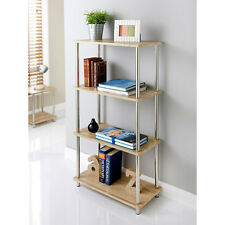 Stylish Oak Effect Svar 4 Tier Shelf Unit Oak Shelves, Stainless Steel Legs