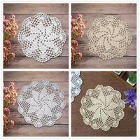 4pcs Vintage Hand Crochet Floral Placemat Lace Round Cotton Table Mat Doily
