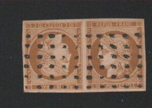 Timbre de France,  Sperati Reproduction, N° 1d, 10 c tête-bêche Cérès oblitéré .