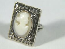 Silver Marcasite Mount Ring size 5 Vintage Oval Carved Shell Cameo Sterling