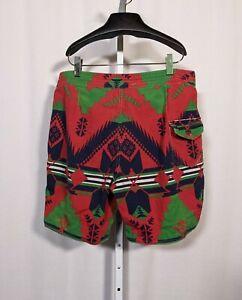 Polo Ralph Lauren Indian Southwestern Aztec Vintage Swim Board Shorts 38