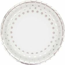 "Holiday Sparkle Foil 8 Ct 9"" Silver Dinner Plates Christmas"