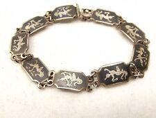 Vtg Sterling Silver Siam Thai Dancer Link Bracelet Goddess Niello Ware Goddess