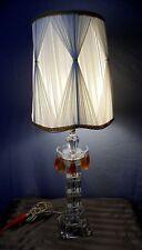 "VTG Chunky Art Deco Glass Hollywood Regency Orange Prism Table Lamp 33"" Tall"