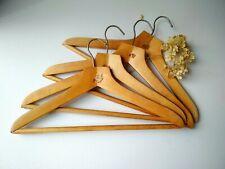 Wood Cloth Hangers Set of 4, Soviet Vintage Wooden Hangers, Coat Suit hangers