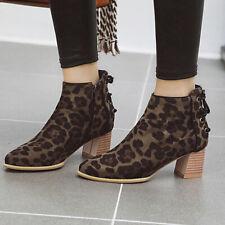 Mujeres Botas al Tobillo Chelsea Puntera Puntiaguda Leopardo Cremallera Bloque Medio Tacón Botines Zapatos