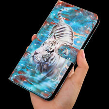 3D White tiger Multi-function flip Card slot wallet Leather Phone case cover