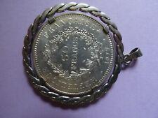 pièce en argent de 50 francs 1977 montée sur médaillon argent massif