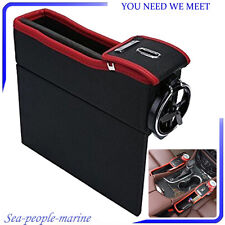 PU Leather Car Seat Gap Catcher Pocket Coin Storage Box Cup Holder For Left Side