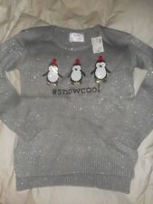 Girls Justice Holiday Christmas Gray Penguin Sequin #snowcool Sweater Size 8 NWT