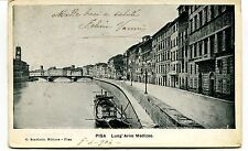 1904 Pisa Lung' Arno mediceo battello destinazione Lucca FP B/N