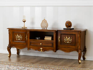 TV unit sideboard Hector English Baroque style walnut and gold leaf